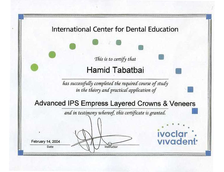 Renaissance Cosmetic Arts Dental Lab Diplomas & Certifications
